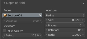 Depth of Field options for render (Raduis size of 0.02)